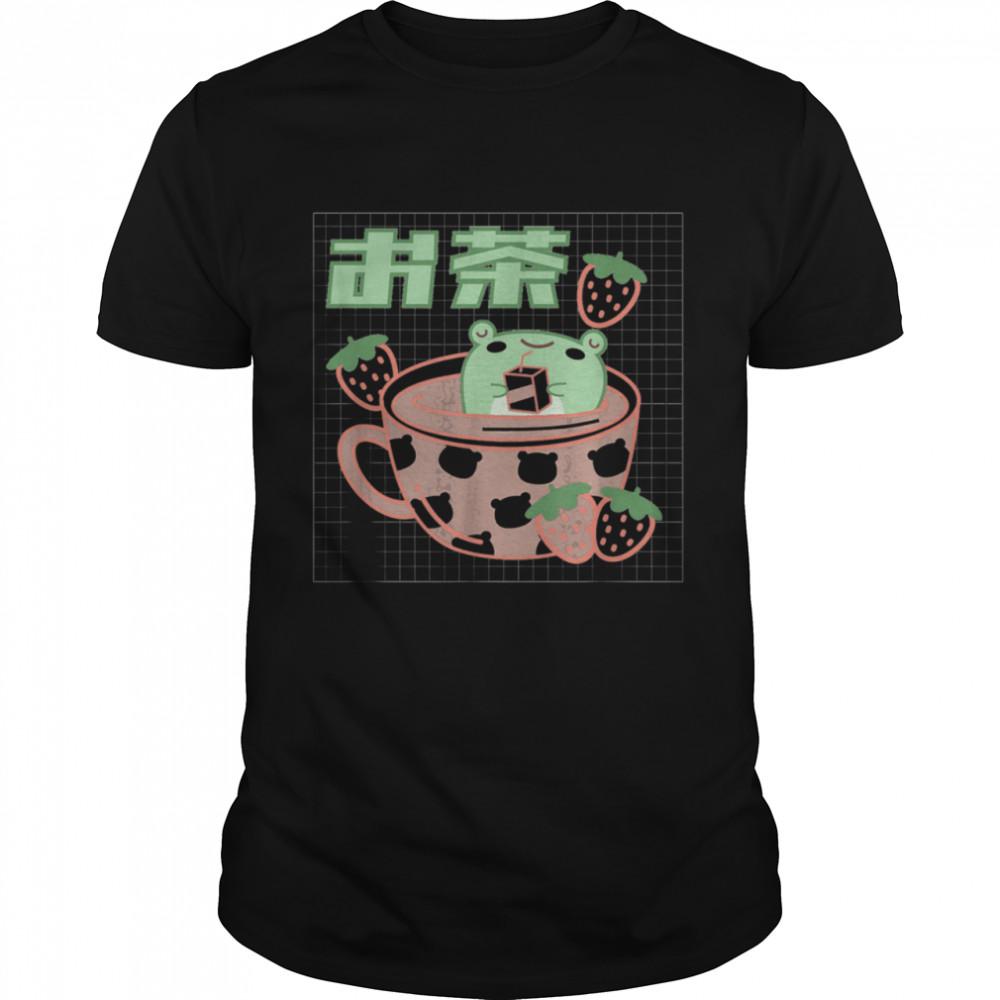 Frog Tea Cup Kawaii Aesthetic Pink Shirt