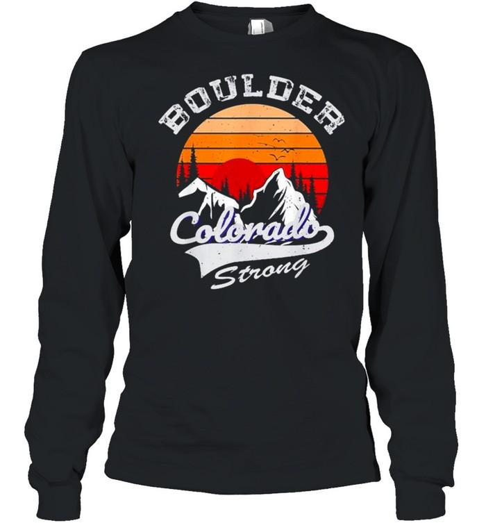 Boulder Colorado Strong 2021 vintage retro shirt Long Sleeved T-shirt