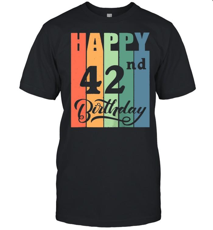 Retro Birthday for 42 Years Old Happy 42nd Birthday Shirt