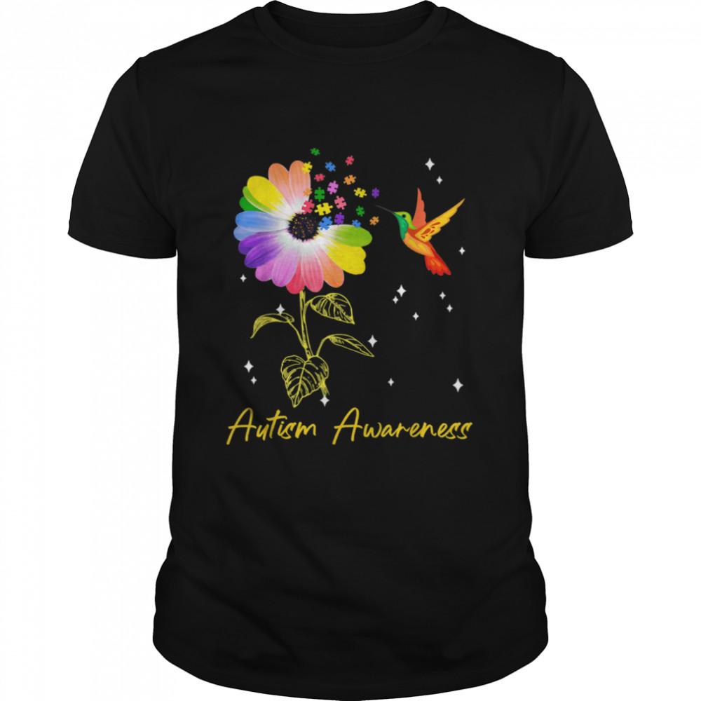 Autism Flower Humming Bird Autism Awareness Puzzle Shirt