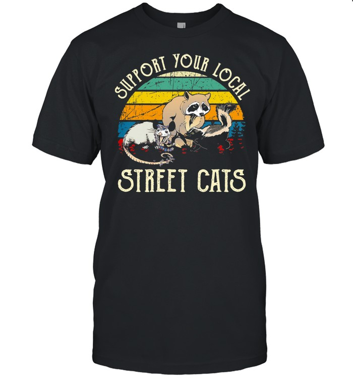 Sloth Support Your Local Street Cats Vintage Retro shirt