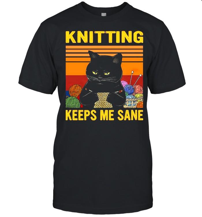 Black Cat Knitting Keeps Me Sane Vintage shirt