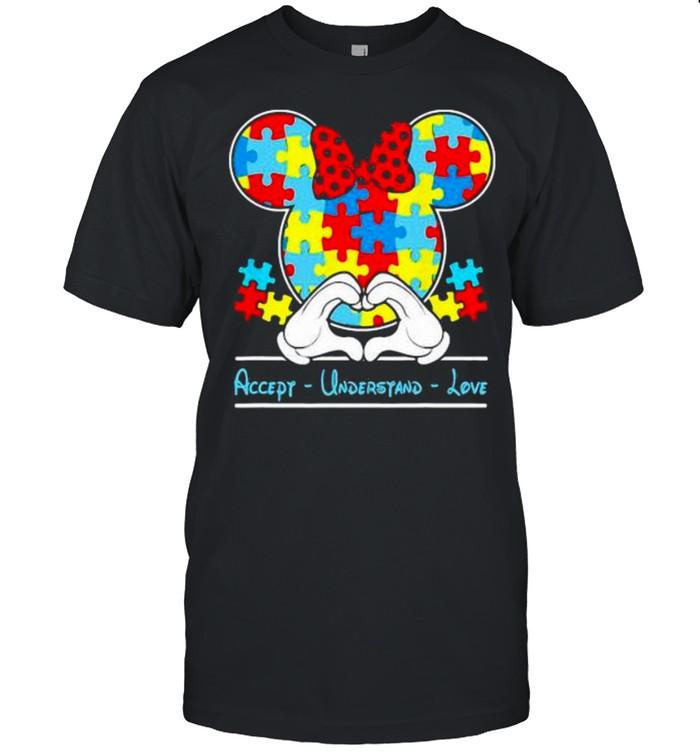 Mickey Love Heart Accept Understand Autism Awareness Shirt