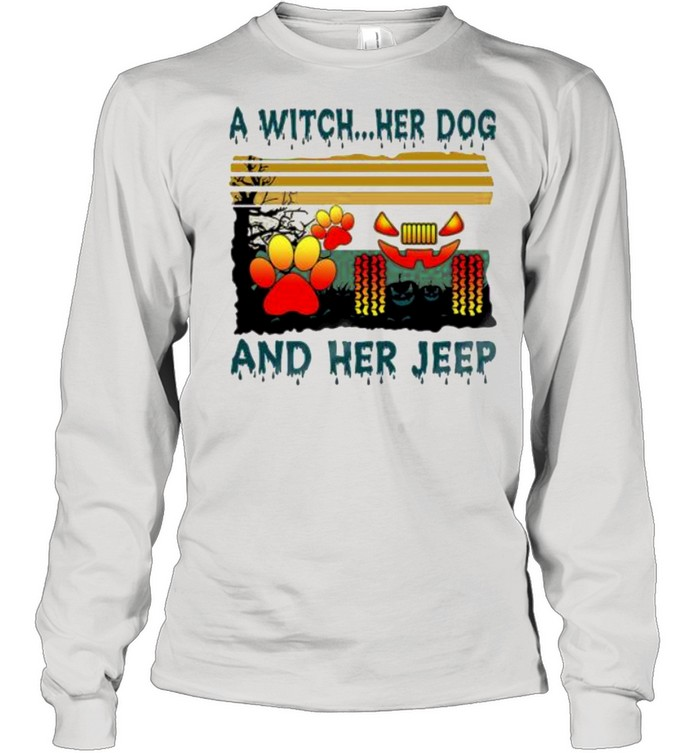 A Witch her Dog and her jeep Halloween vintage shirt Long Sleeved T-shirt