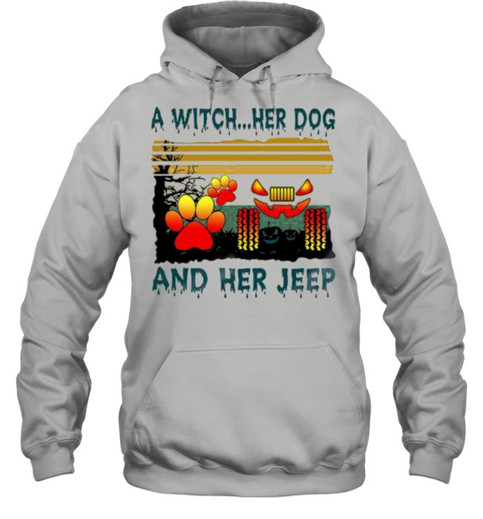 A Witch her Dog and her jeep Halloween vintage shirt Unisex Hoodie