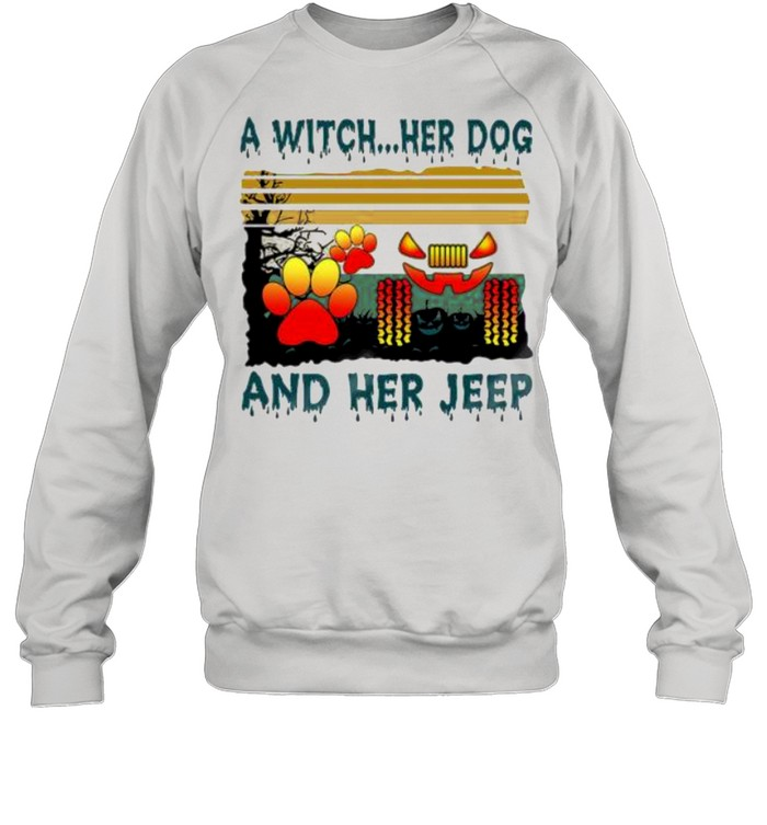 A Witch her Dog and her jeep Halloween vintage shirt Unisex Sweatshirt