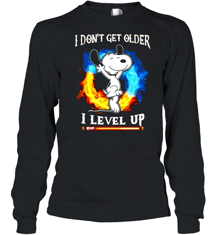 I Don't Get Older I Level Up Snoopy  Long Sleeved T-shirt