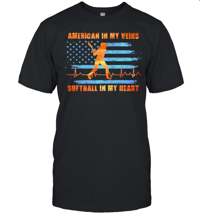 American in my veins softball in my heart shirt Classic Men's T-shirt