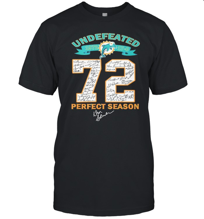 Undefeated 1972 Miami Dolphins 72 Perfect Season Signatures  Classic Men's T-shirt