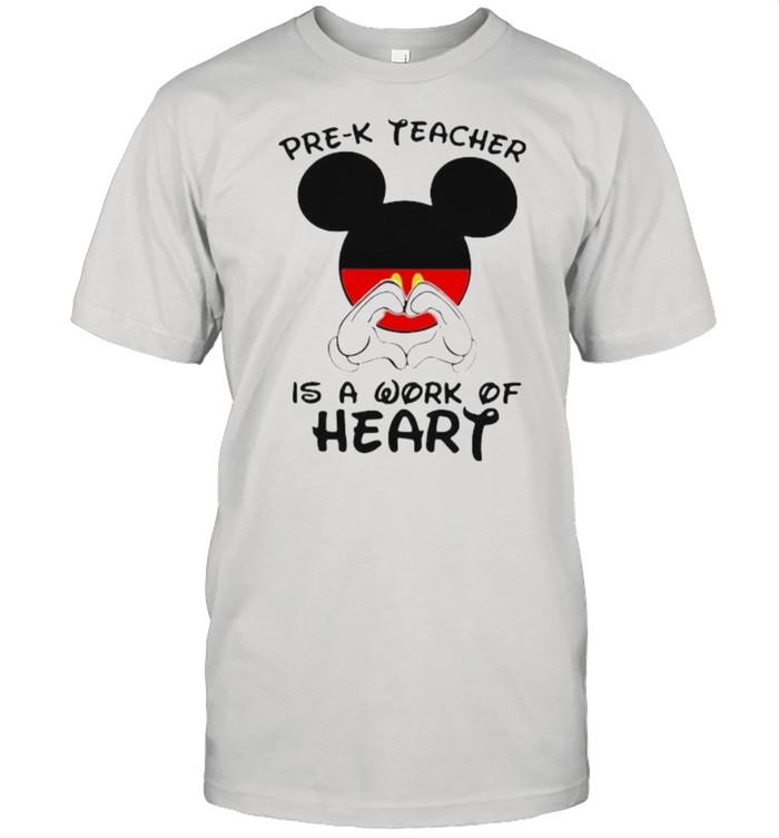 Pre – K Teacher Is A Work Of Heart Mickey  Classic Men's T-shirt