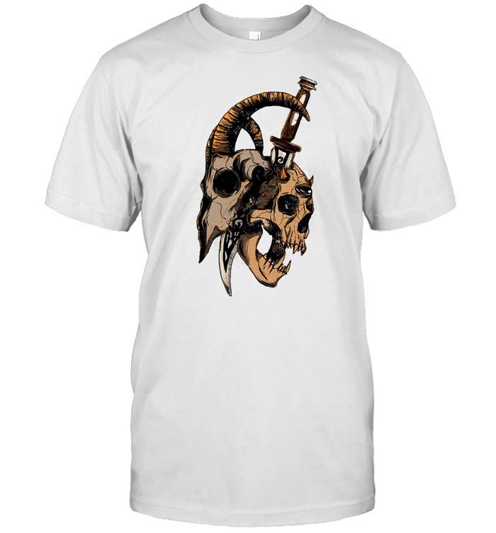 Occult Devil Goth Satanic Baphomet Goat Head And Skull T-shirt Classic Men's T-shirt