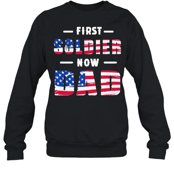 First goldien now dad maximilian genevieve American flag shirt Unisex Sweatshirt