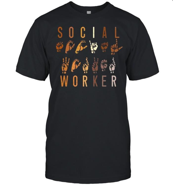Social Worker Appreciation Month ASL Sign Language  Classic Men's T-shirt