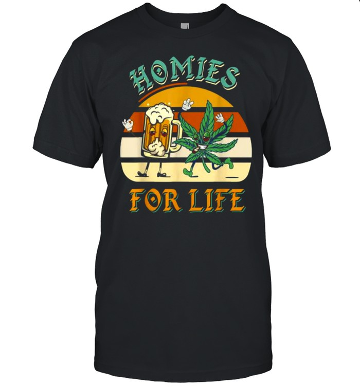 Homies For Life Beer Drink Meditate Cannabis Vintage T- Classic Men's T-shirt