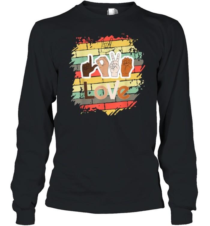 LOVE – ASL Love, Sign Language ILY vintage T- Long Sleeved T-shirt
