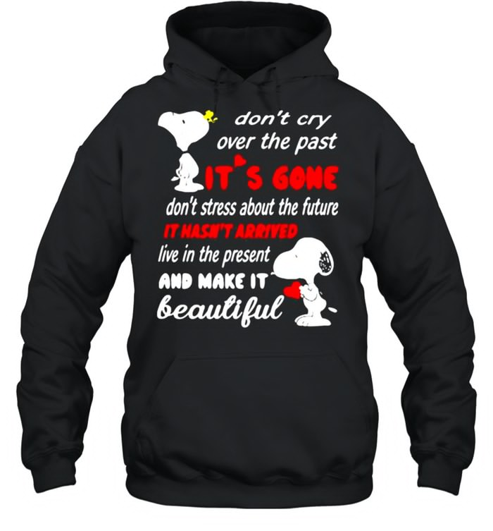 Dont cry over the past its gone it hasnt arrived live in the present and make it beautiful snoopy shirt Unisex Hoodie