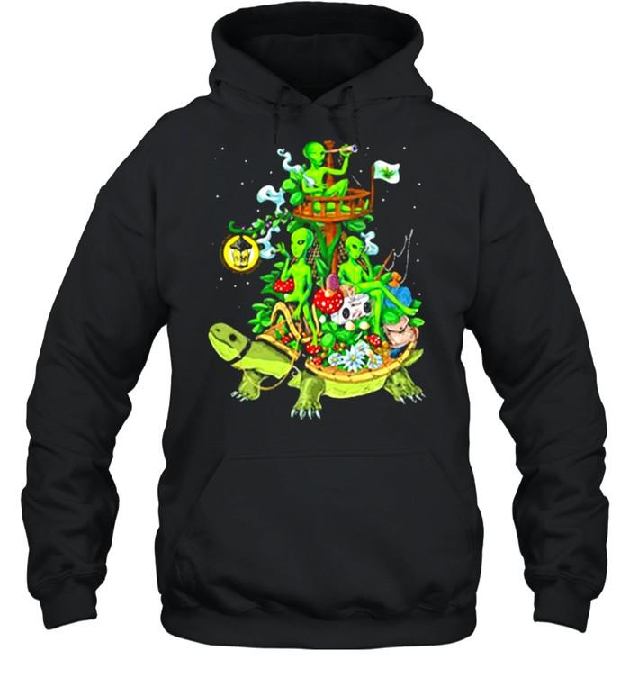 Alien Riding Turtle smoking shirt Unisex Hoodie