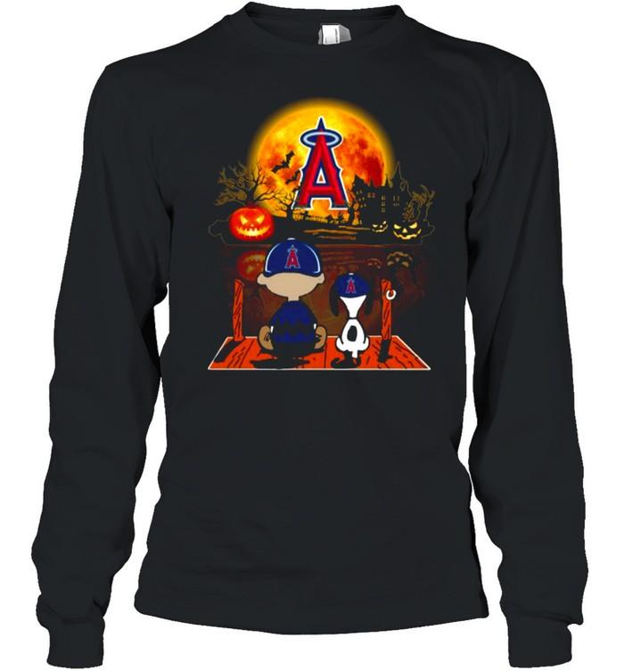 Snoopy and Charlie Brown Pumpkin Los Angeles Angels Halloween Moon shirt Long Sleeved T-shirt