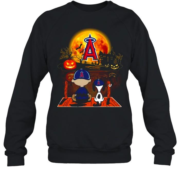Snoopy and Charlie Brown Pumpkin Los Angeles Angels Halloween Moon shirt Unisex Sweatshirt