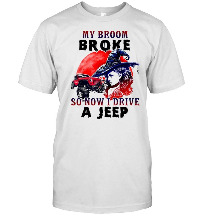Witch my broom broke so now I drive a jeep Halloween shirt Classic Men's T-shirt