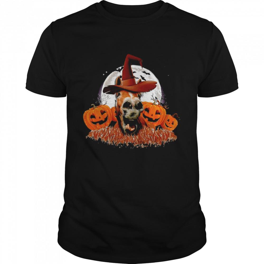 Horse Pumpkin Witch Halloween T-shirt