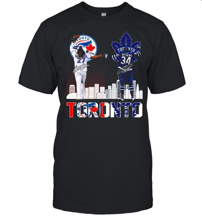 Toronto Blue Jays 27 Guerrero And Toronto Maple Leafs 34 Matthews Toronto Sports City Signatures Shirt
