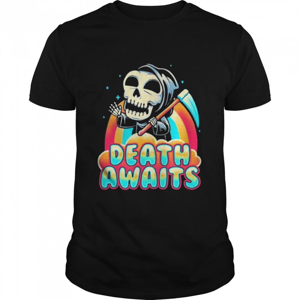 Death Awaits Reaper Halloween shirt