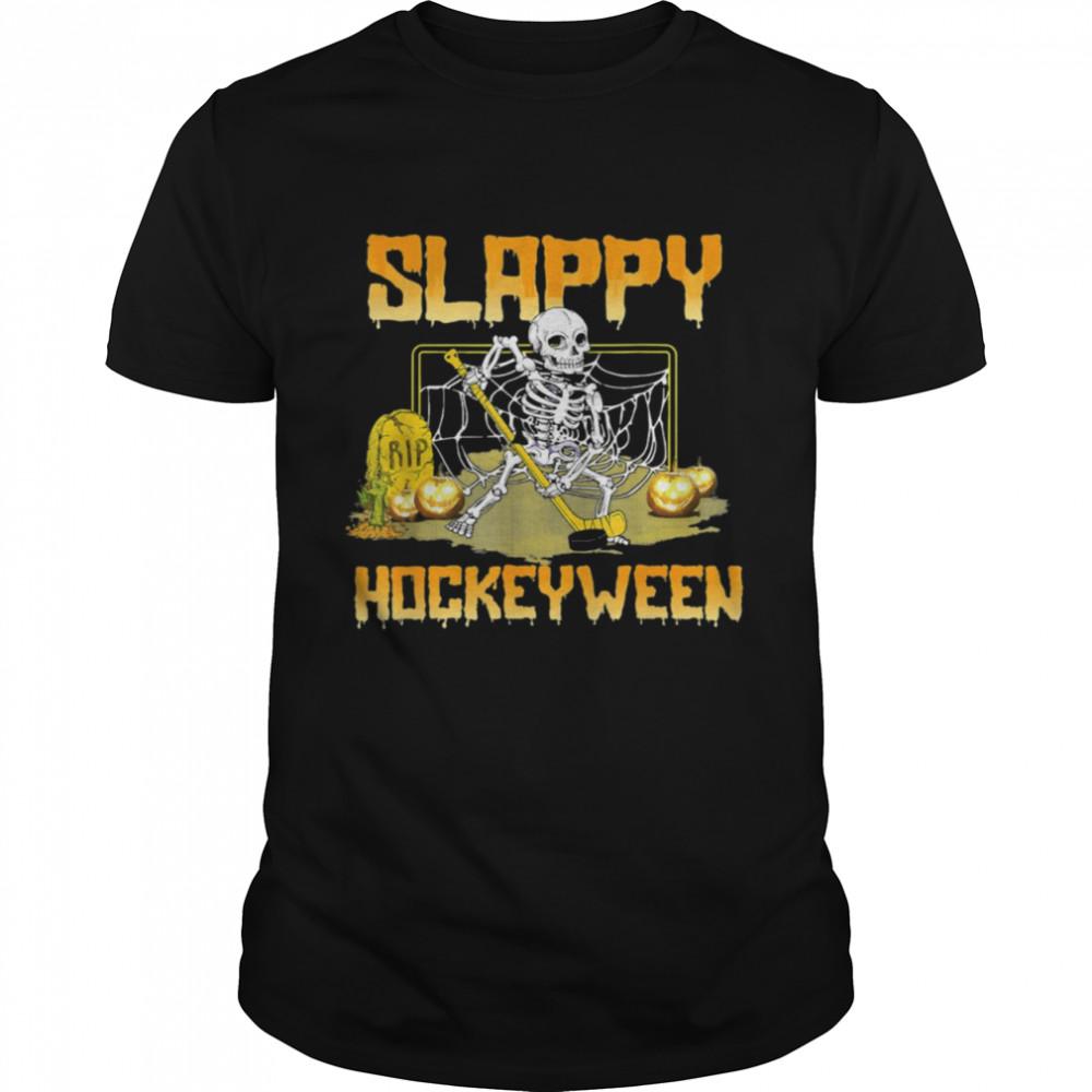 Hockey Slappy Hockeyween Skeleton Halloween Costume 2021 shirt