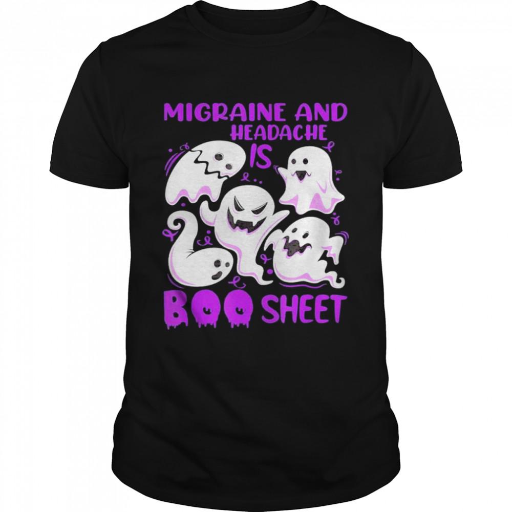 Migraine and Headache is Boo Sheet Purple Halloween Ghost shirt