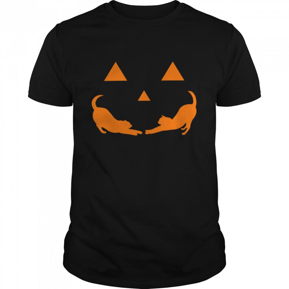 Cat Face Mask Halloween Shirt1